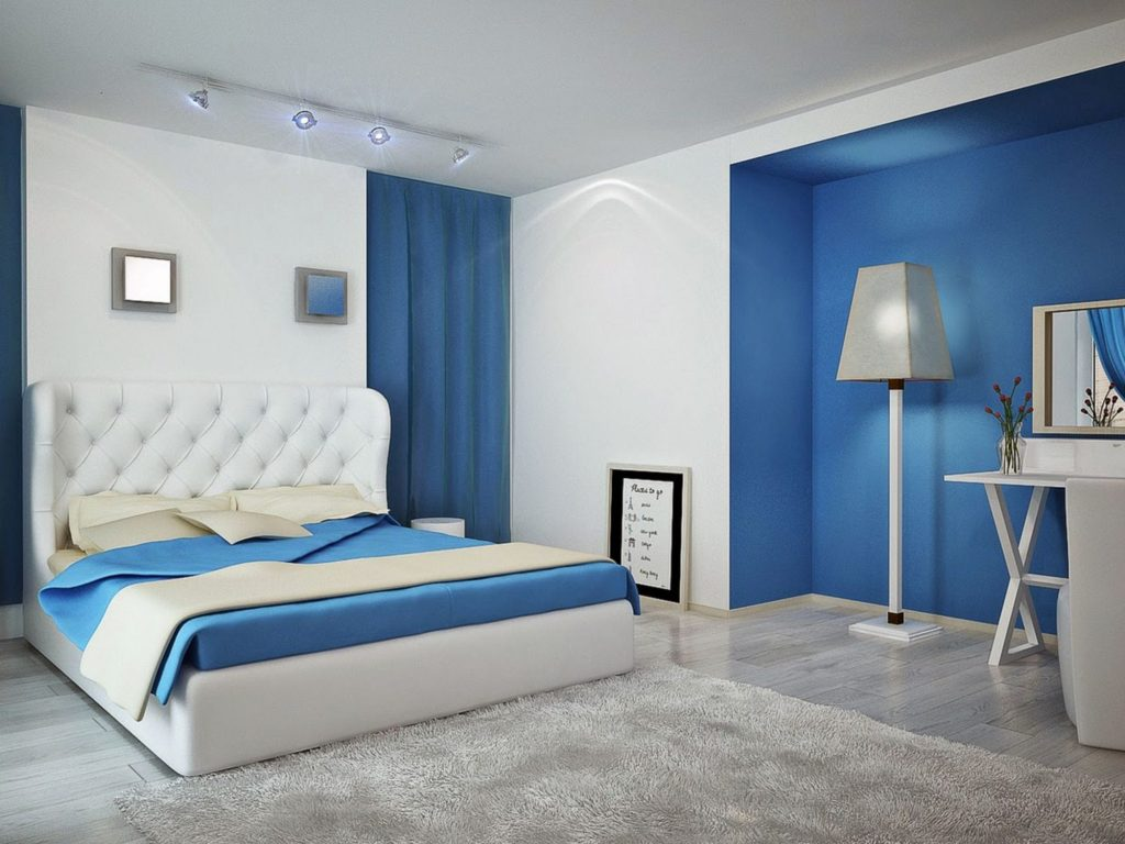 Misty blue bedroom combined with white accent walls and furniture