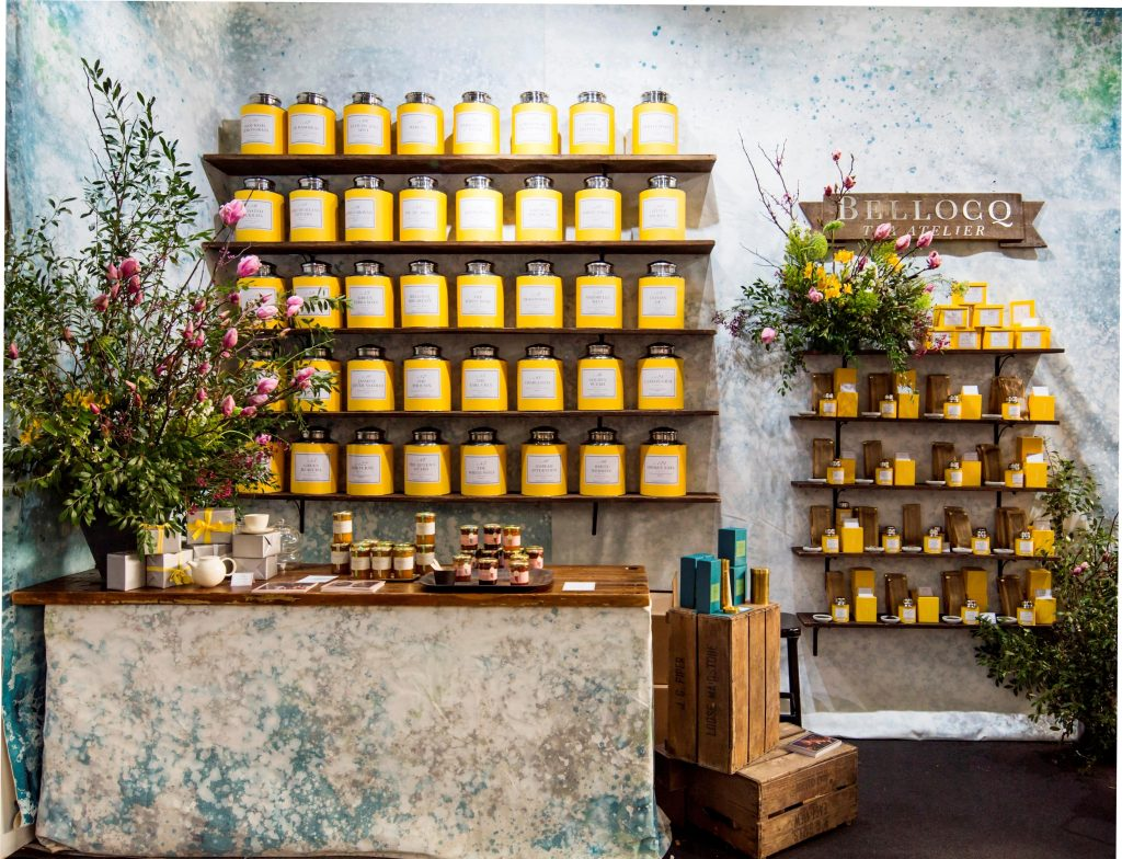 The Bellocq tea stand at the shop exhibition.