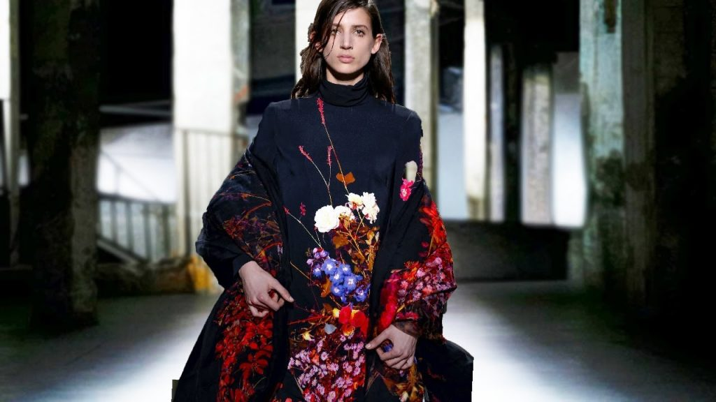 A model in the collection of Dries van Noten at Paris Fashion Week