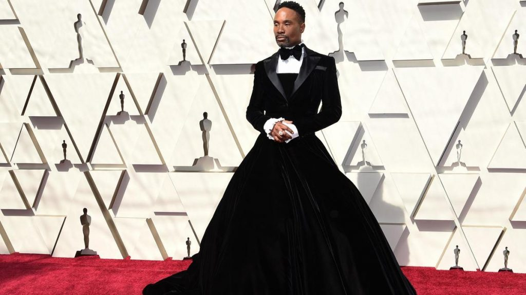 Billy Porter in a big, black velvet dress by Christian Siriano
