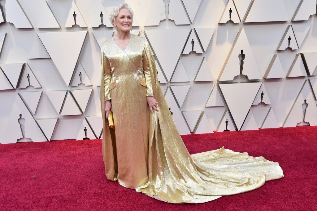 Glenn Close in a gold Carolina Herrera dress.
