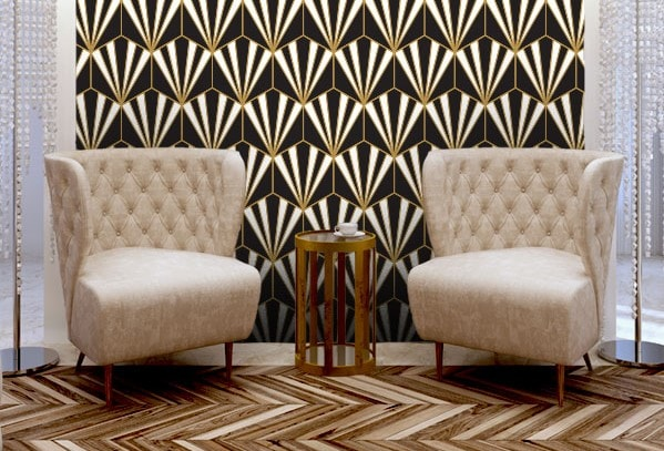 The print of the wall paper in combination of the arrangement of the wooden flooring gives it a real Art Deco vibe.