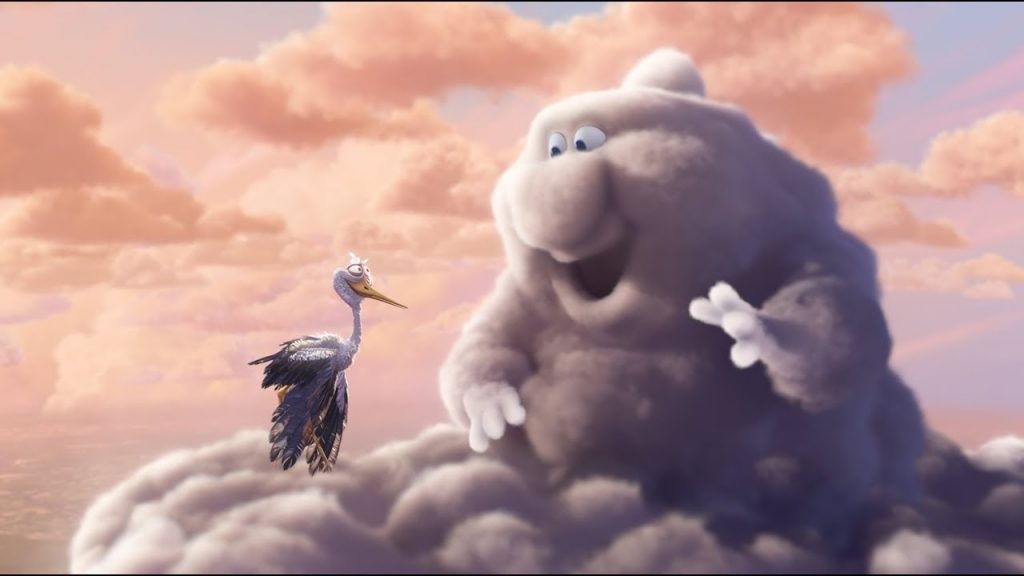 Fragment of Partly cloudy: Cloud greeting stork.
