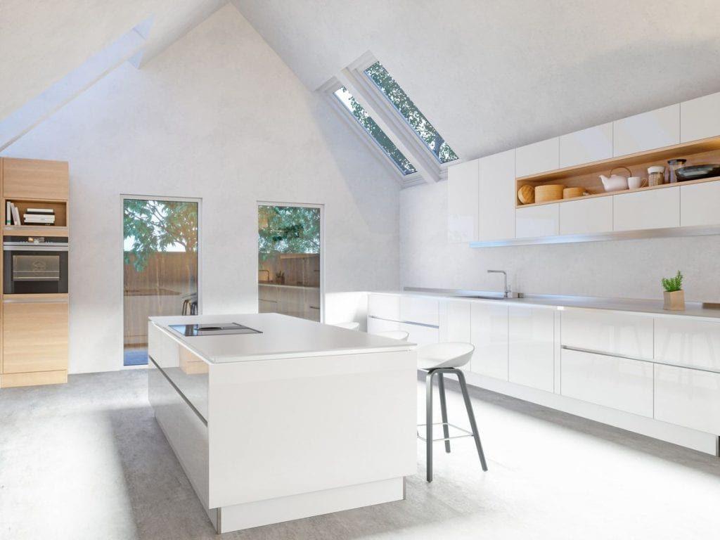 A modern all white kitchen.