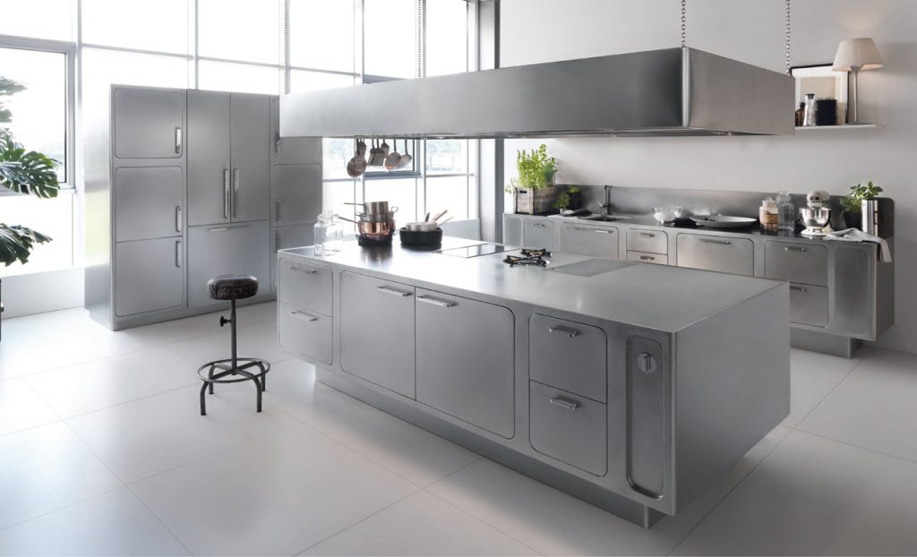 Kitchens always have some stainless steel, here is a fully stainless steel kitchen.
