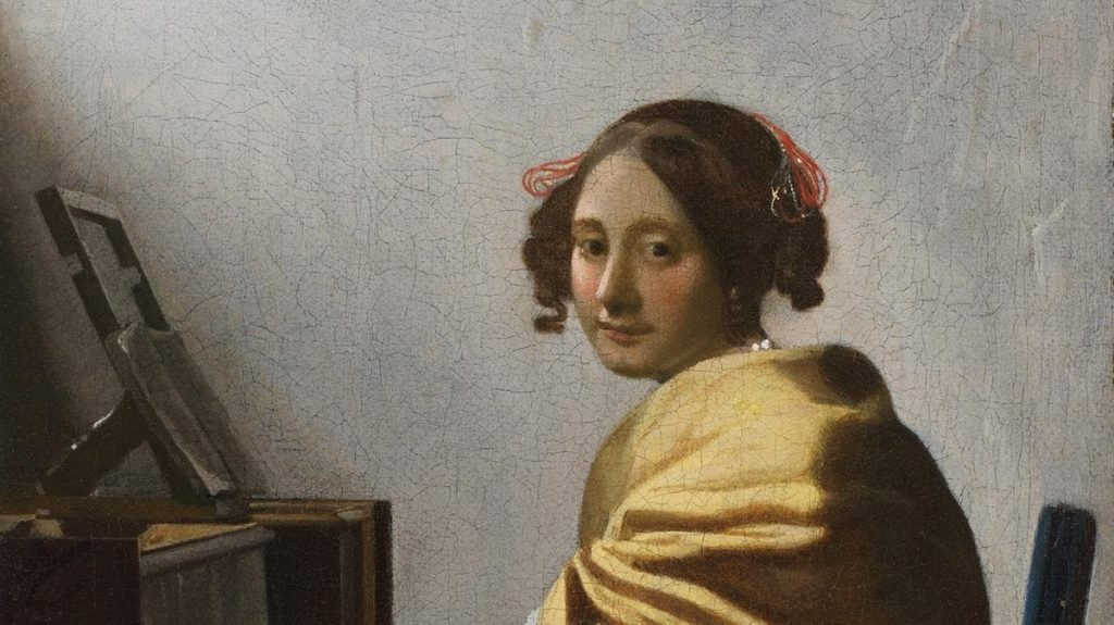 Girl by a piano painting of Johannes Vermeer.