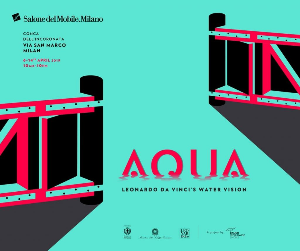 A poster for the AQUA exhibit at Salone del Mobile 2019