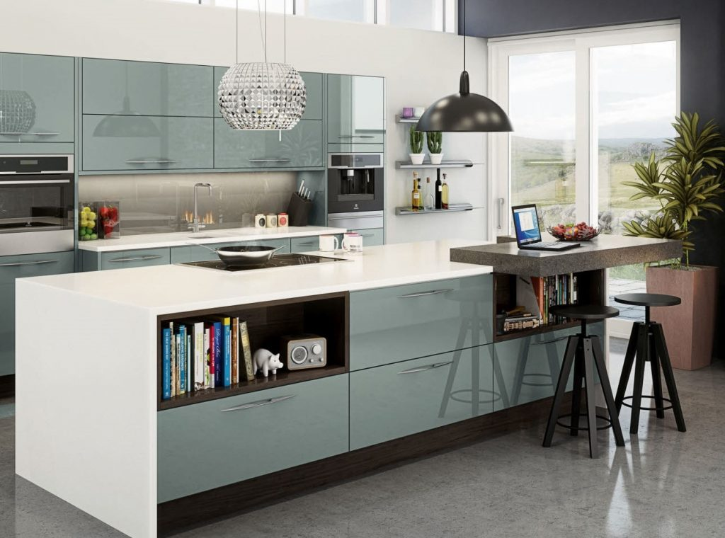 A modern kitchen with a blue accent color on the cabinets.