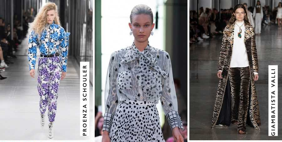 Patterned outfits by Proenza shcouler, Giambatista Valli and many more