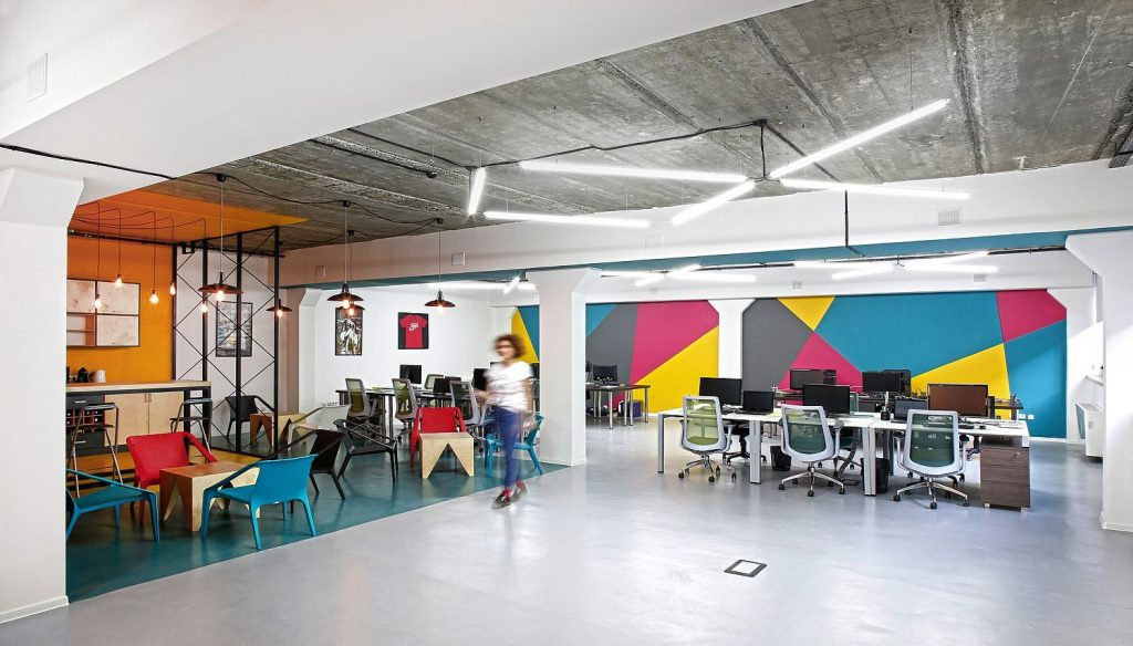 A colorful office, perfect for creatives to get to work.