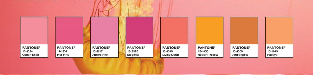 The Pantone colours of the shimmering sunsets palette.