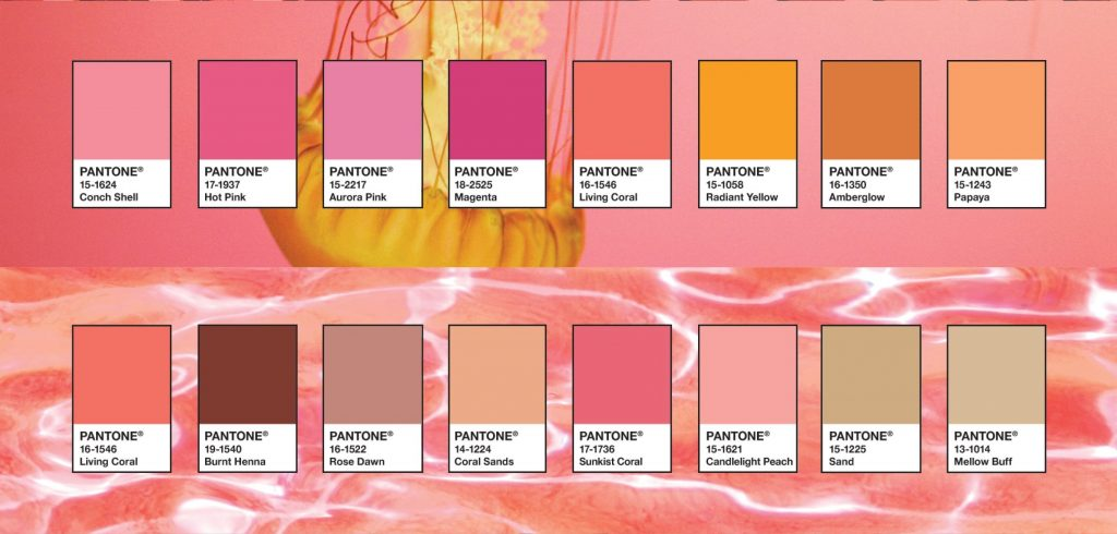 Two palettes to combine the Pantone colour Living Coral in your home.