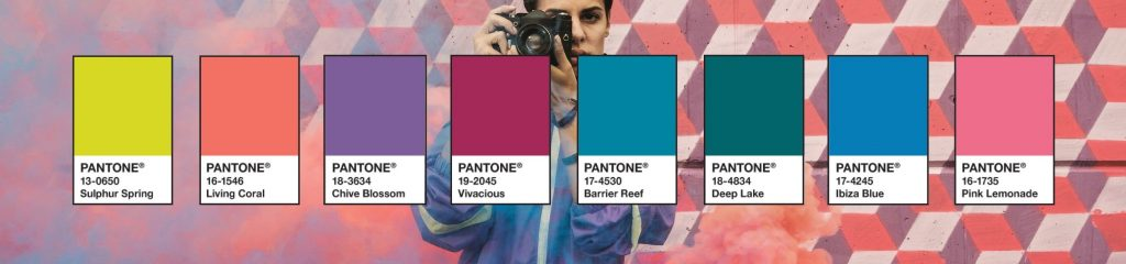The Trippy Pantone palette including Living coral.
