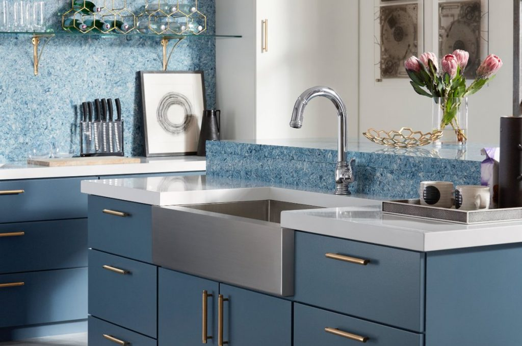 This dark blue colour by Benjamin Moore gives a nice matte finish to your cabinets.