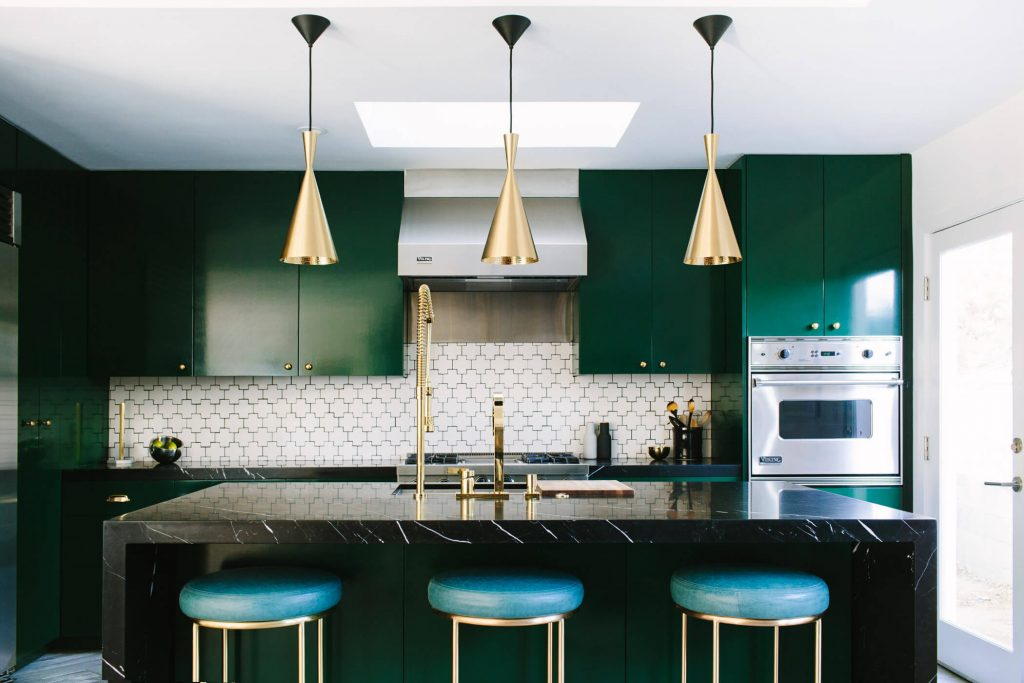 An emerald green colour gives you the perfect luxurious feel in a kitchen.