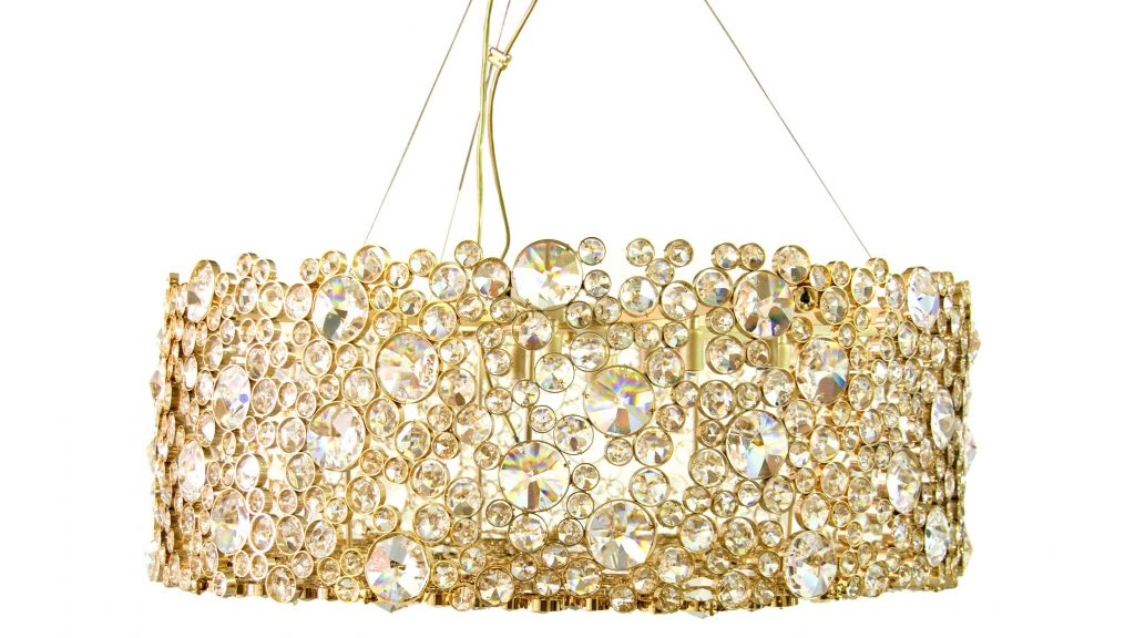 The eternity I chandelier made in crystal with gold plated brass.