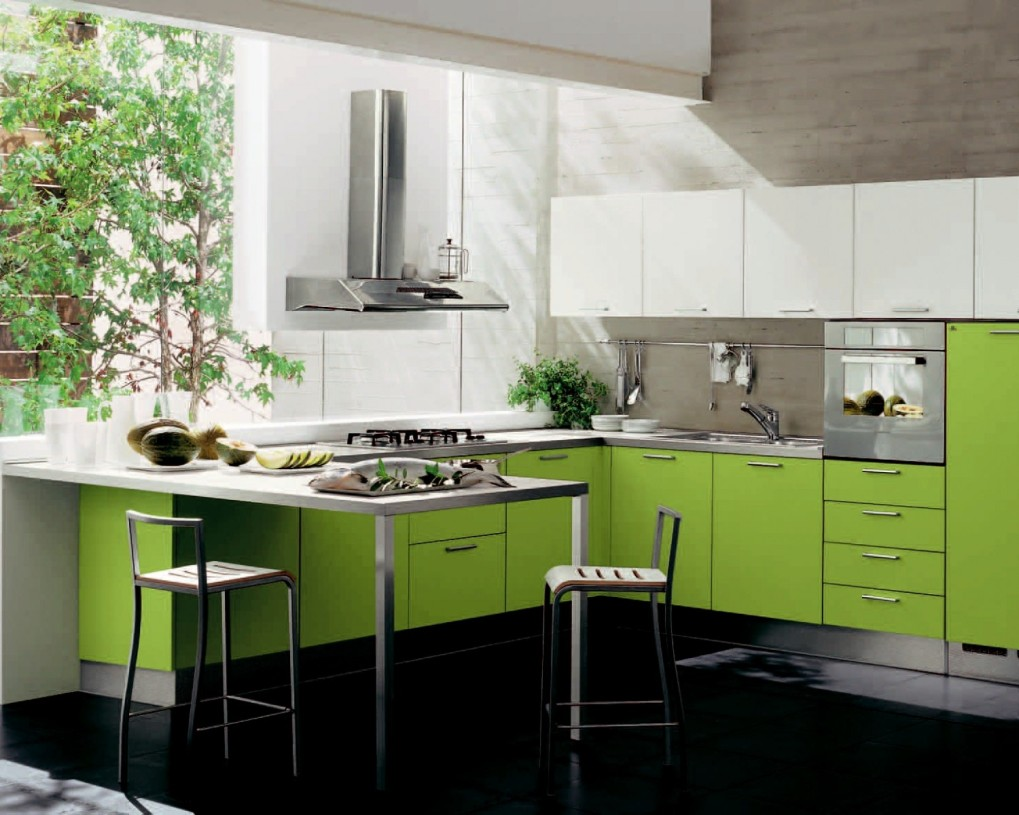 The lime green gives you a summery feel in the kitchen.