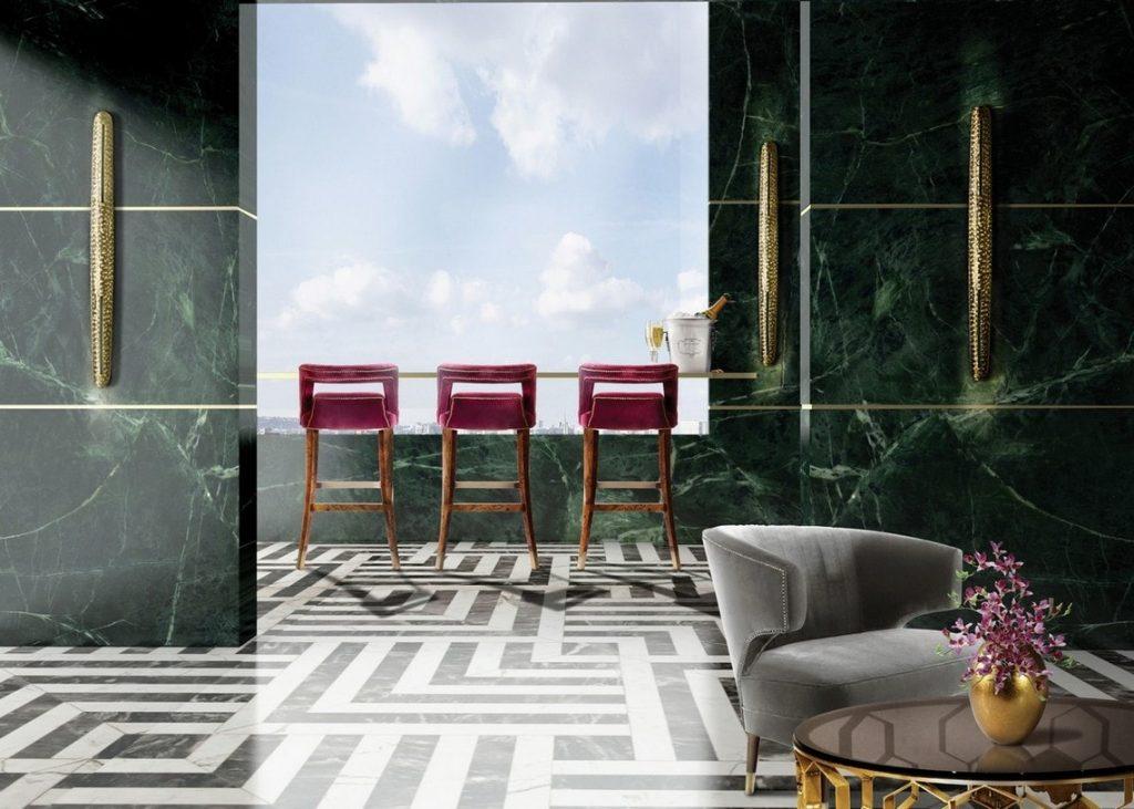Bordeaux velvety bar chairs