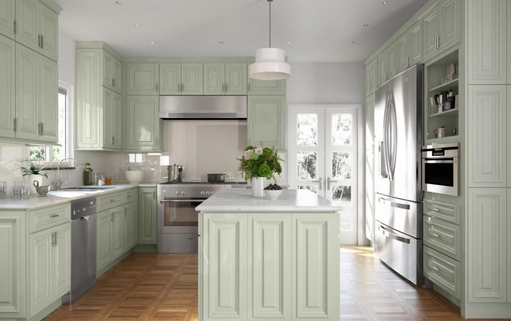 the light sage green colour is the perfect alternative for white cabinets.