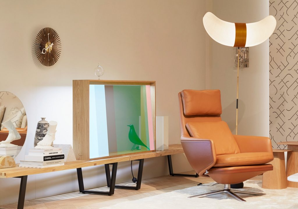 The glass cabinet by Vitra and Panasonic has transformed itself into a TV.