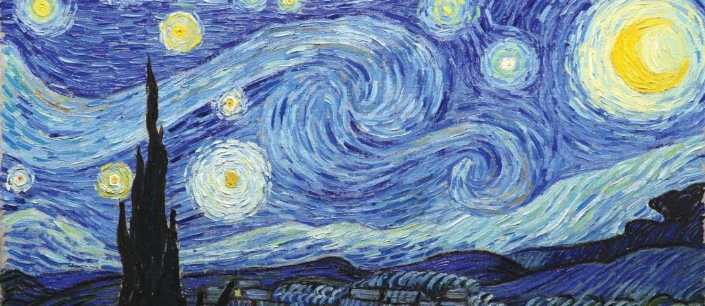 A starry night painting by Vincent Van Gogh