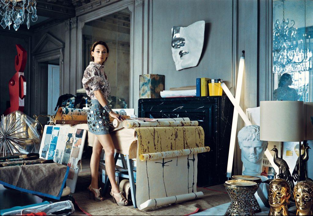 American interior designer Kelly Wearstler at work in her studio.