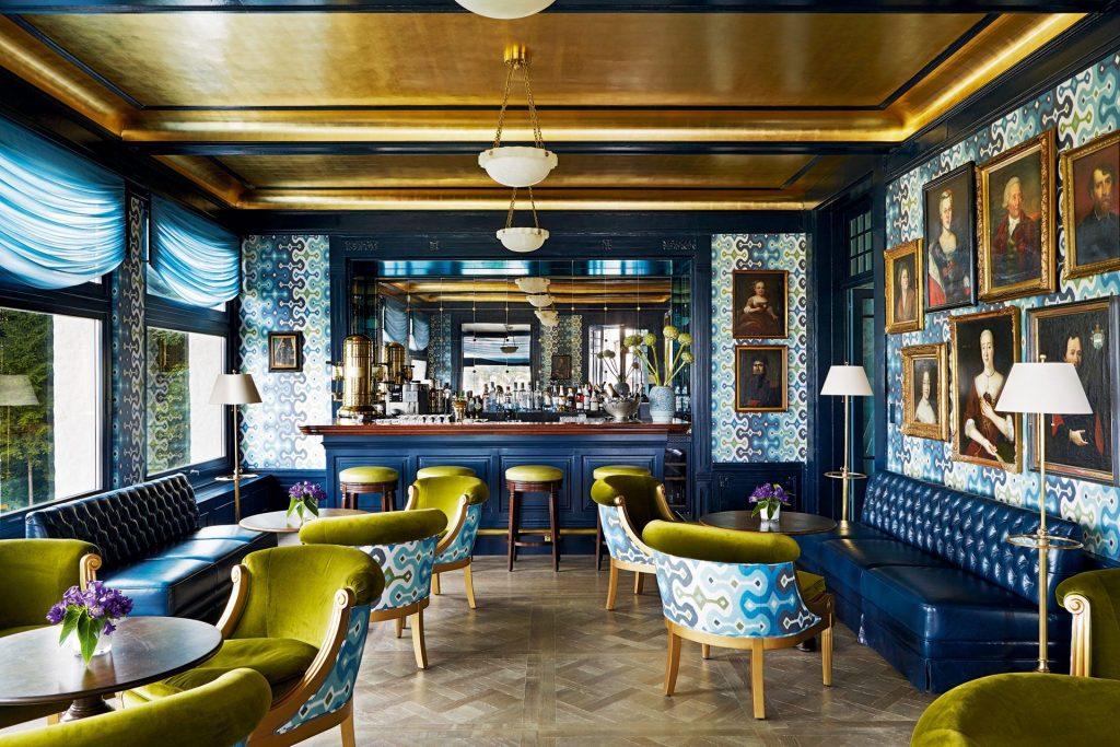 A beautiful designed bar and lounge area by American interior designer Martyn Lawrence Bullard.