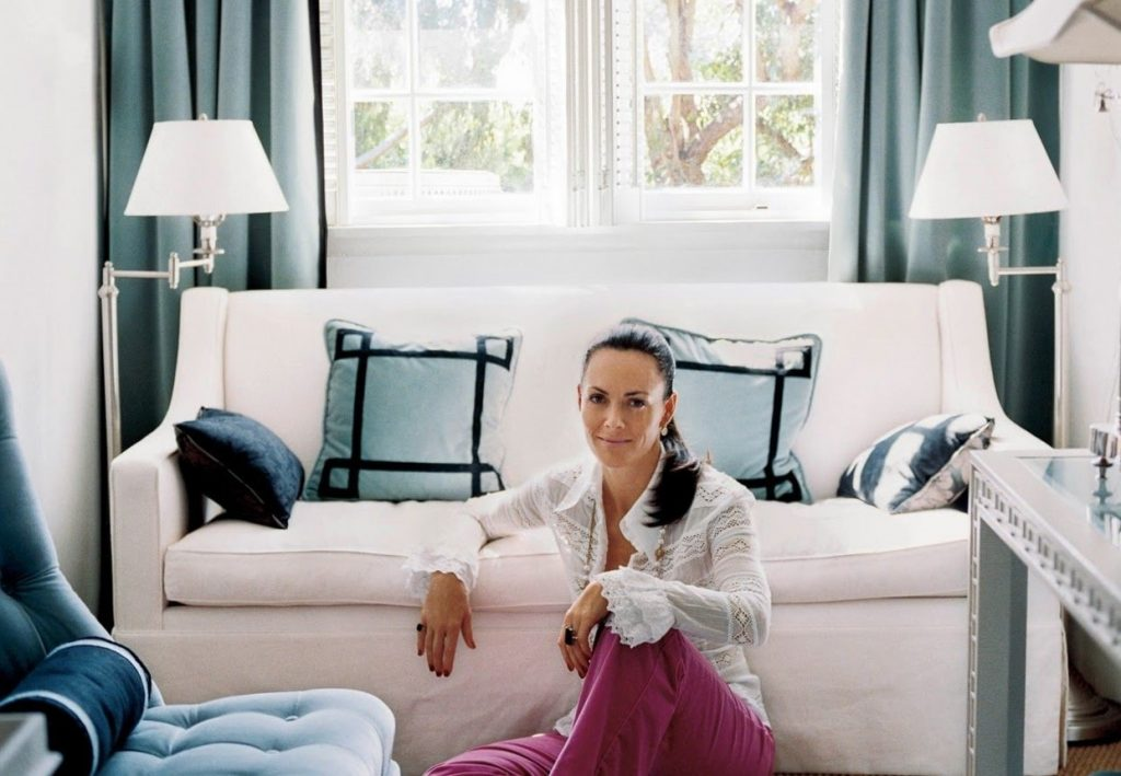 Mary McDonald, an American interior designer, lounges in the living room of one of her projects.
