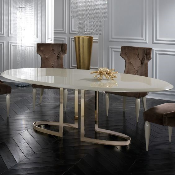"""<img src=""""narrow dinning tables """" alt="""" luxury narrow dining table with golden metal pieces"""">"""