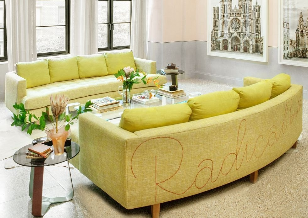 The luxury home of Carolyn Pressly has a some fun yellow sofa's in the living room.