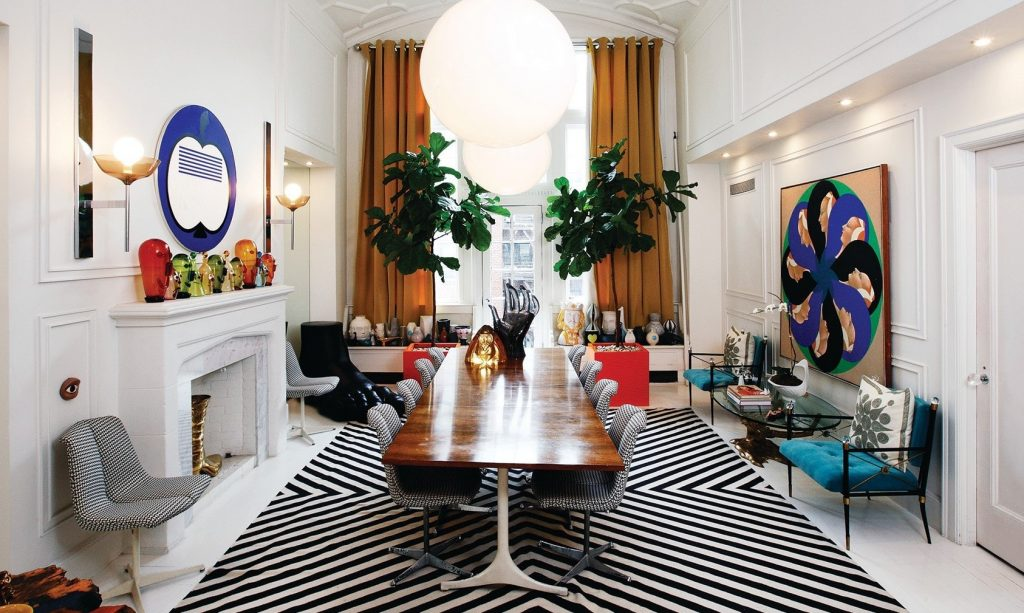 Jonathan Adler and Simon's eclectic dining room in their luxury home.