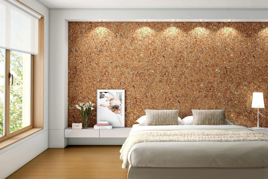 Cozy bedroom with wall made out of cork