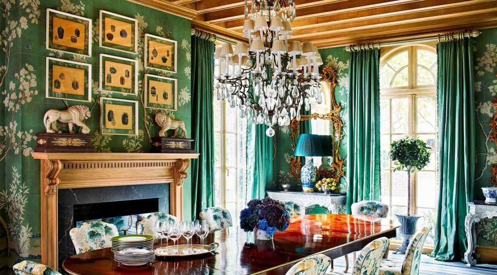 This sophisticated dining room is an extravagant design by American interior designer, Miles Redd.