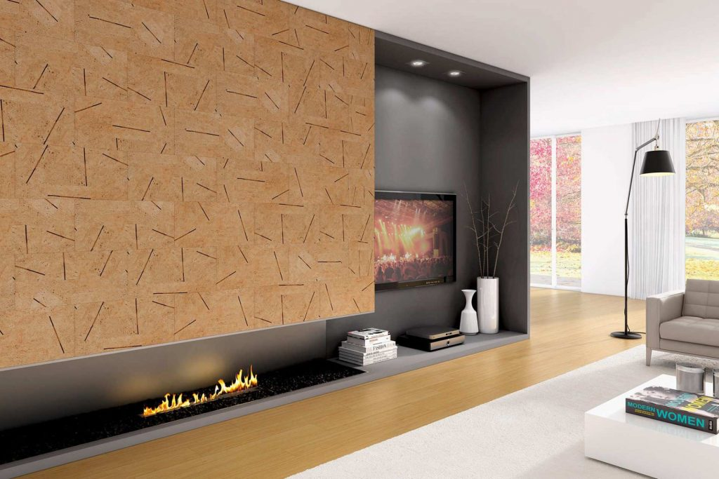Luxury, calming fire place with cork wall