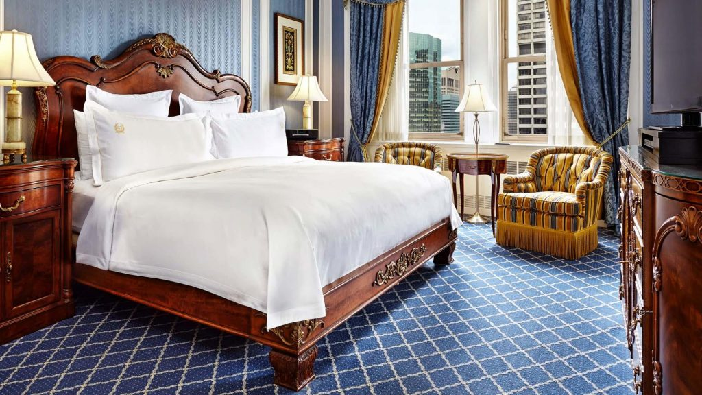 The rooms of the Waldorf Astoria in New York City radiate luxury.