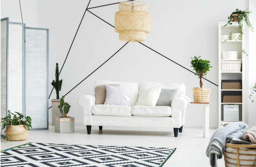 Interior Design Trends 2019 – Decor with Geometric Patterns. White modern style with green acents
