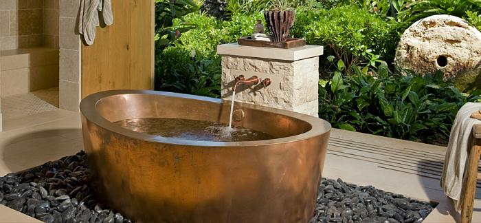 Tropical Bathroom with Brass Bath