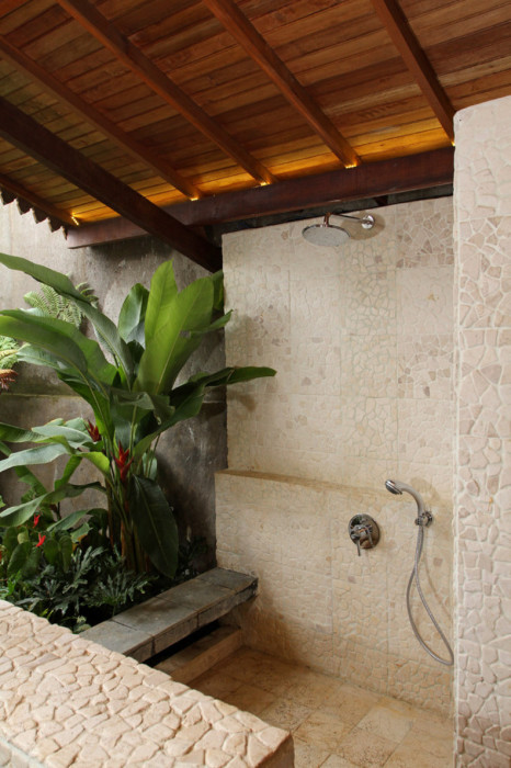 Tropical Bathroom with Stone Shower