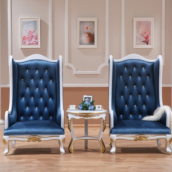 Classical Luxury Hotel Lobby High Wing Back Throne Chair