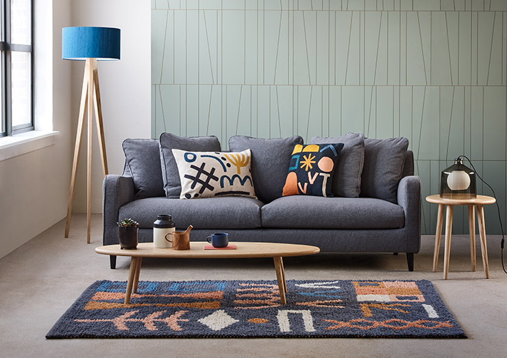 Sofa with matching to Rug Color