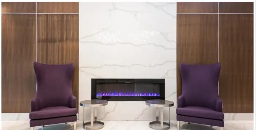 Purple armchairs in Hilton Hotel