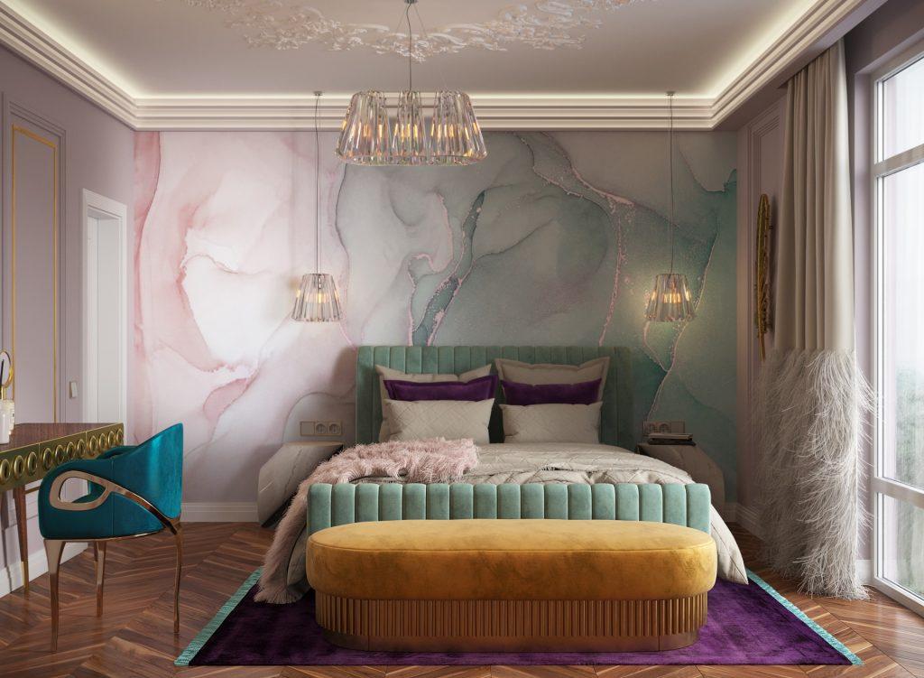Stylish bedroom using feminine tones