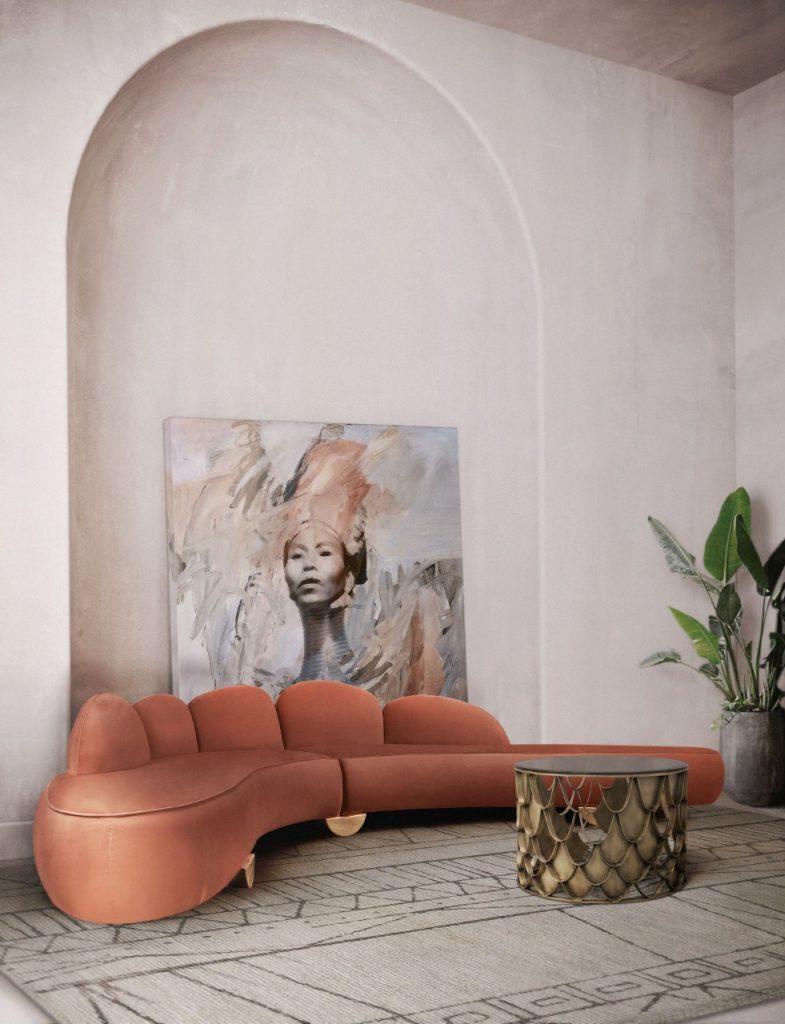 Luxurious living room with feminine tones
