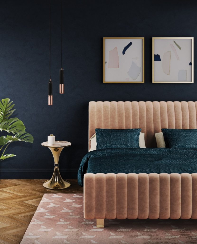 Feminine tones bed creating a great contrast