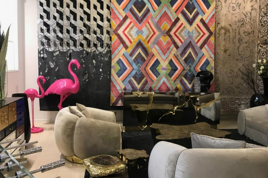 Unique living room featuring feminine tones furniture