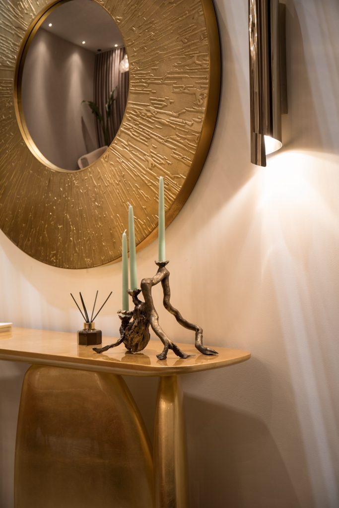 Hallway with gold decor
