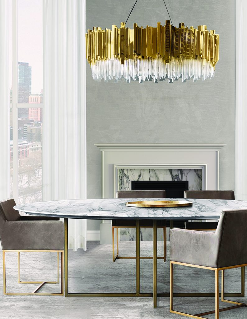 Gold decor dining room