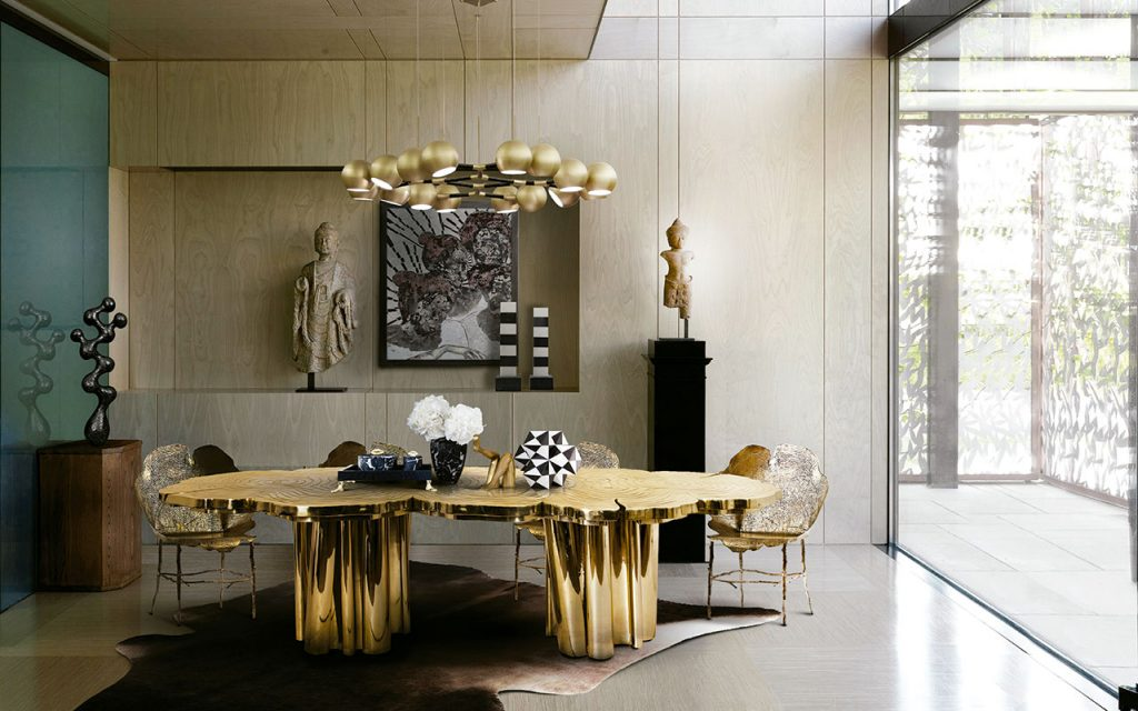 Dining room featuring gold decor