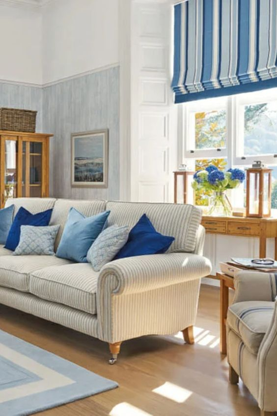 costal style blue and white living room