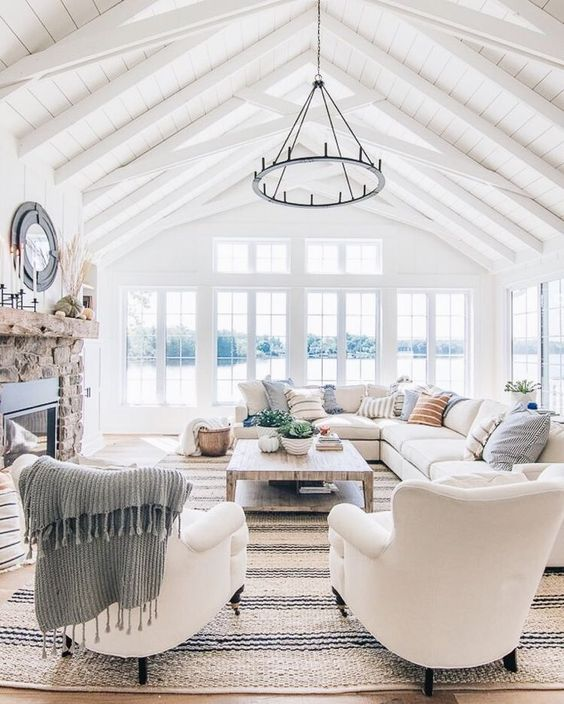 costal style white living room